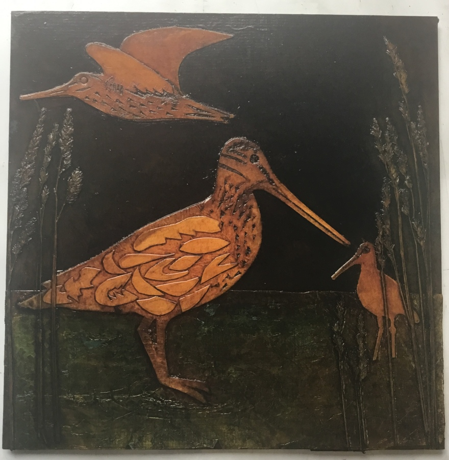 Latham's Snipe collagraph plate