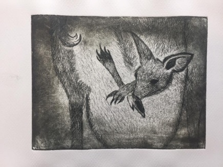 """Time to Leave the Pouch"" is a copperplate, hard-ground etching in grey."